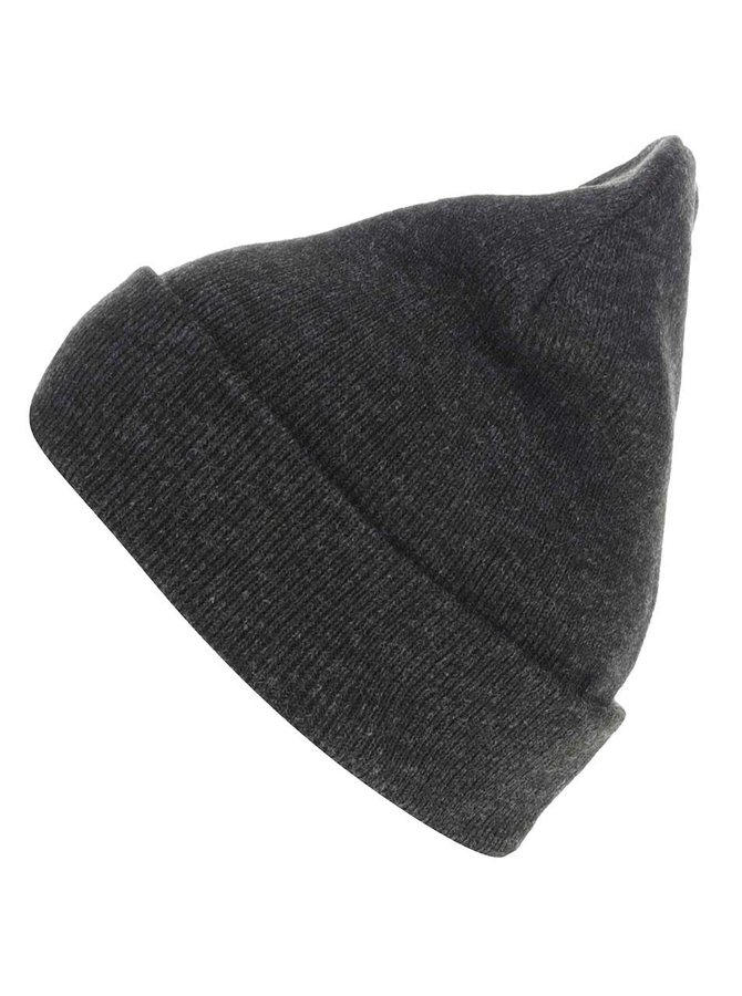 Tmavě šedá zimní čepice s ohrnutým lemem Blend