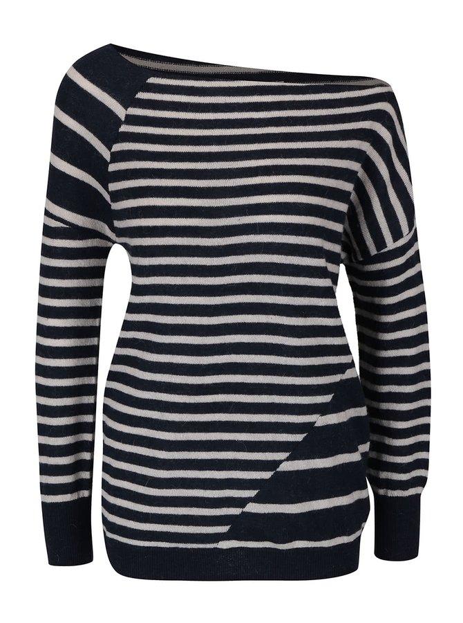 Tmavě modrý  vlněný asymetrický svetr s pruhy YAYA