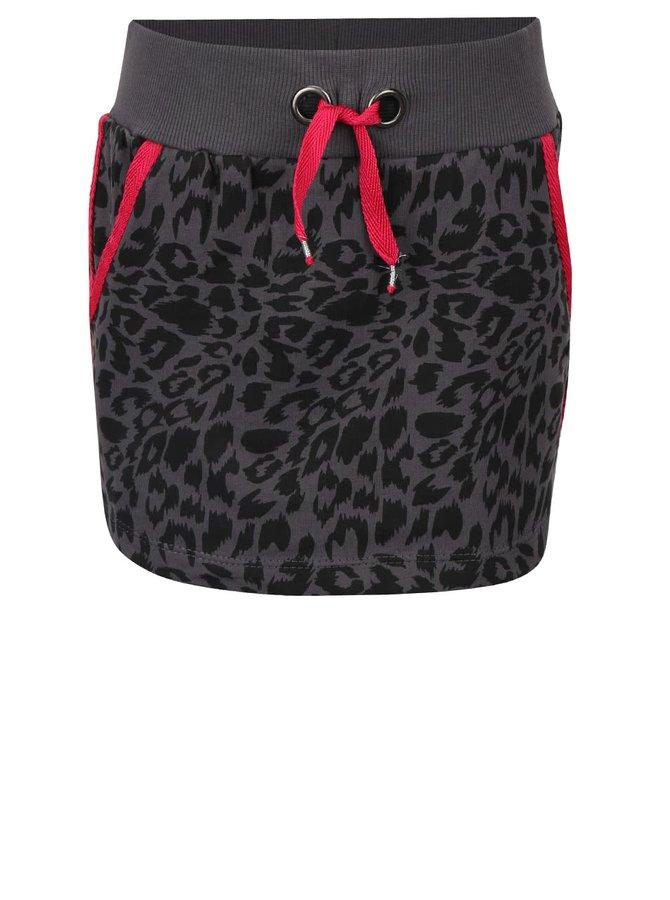 Tmavosivá dievčenská sukňa s leopardím vzorom Cars Jeans Sjanna
