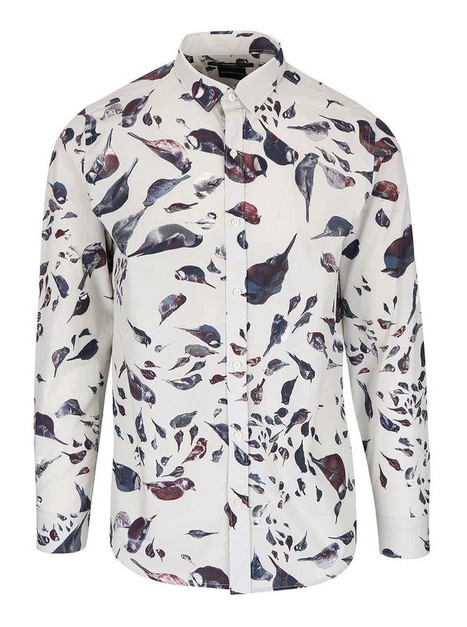 Sivobéžová košeľa s potlačou Selected Homme One Rocco