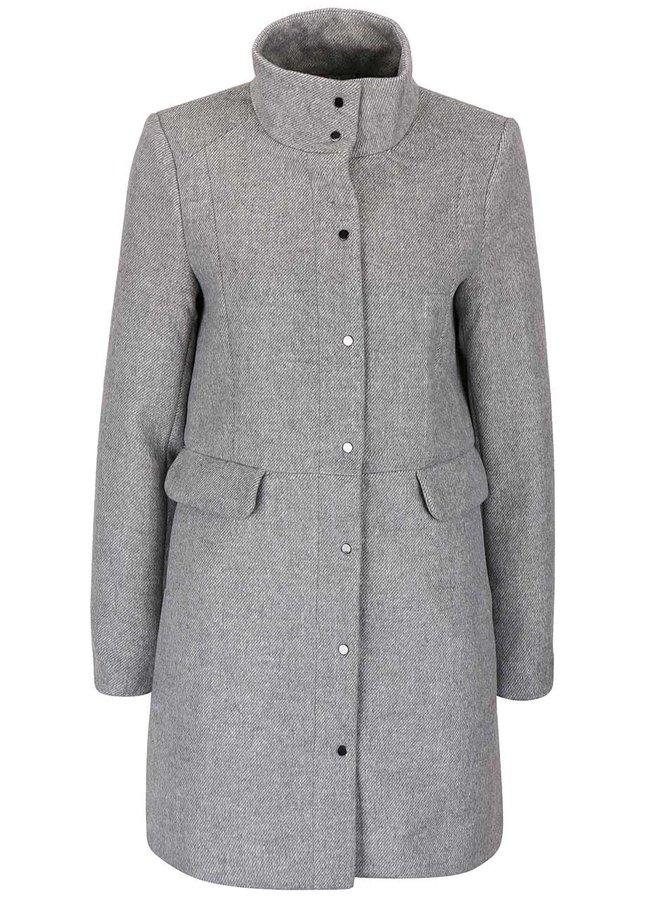 Světle šedý kabát s límcem Vero Moda One Dope