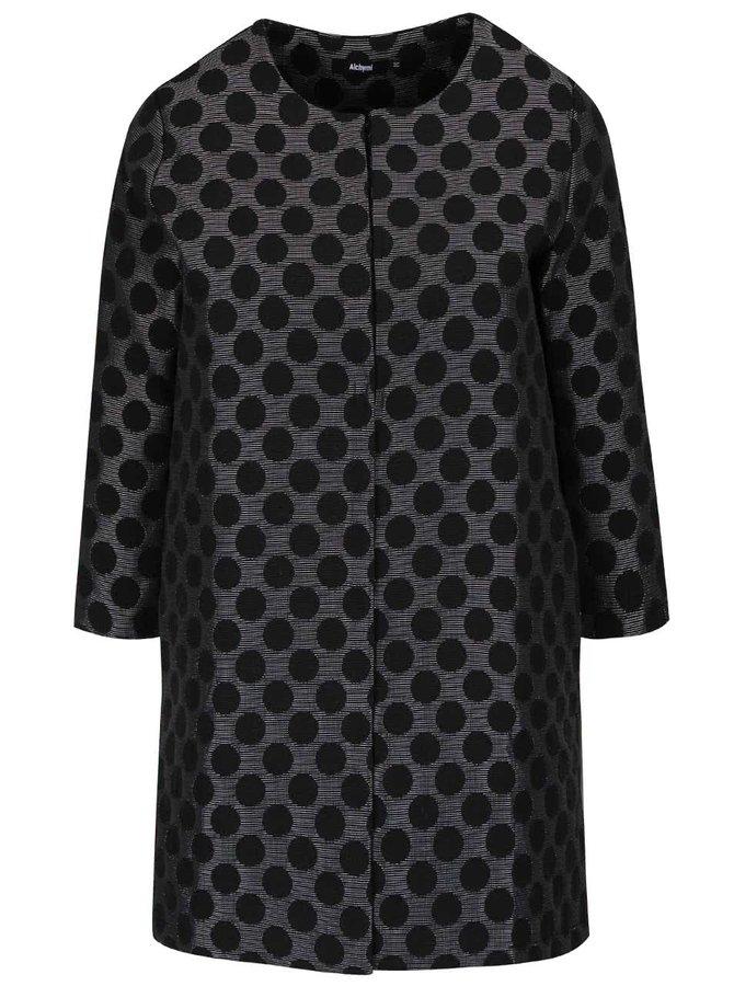 Čierny bodkovaný ľahký kabát s 3/4 rukávmi Alchymi Tarumi