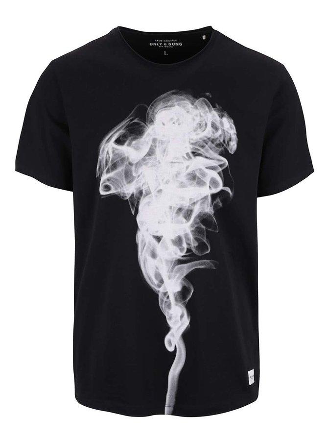 Čierne tričko s potlačou ONLY & SONS NIm