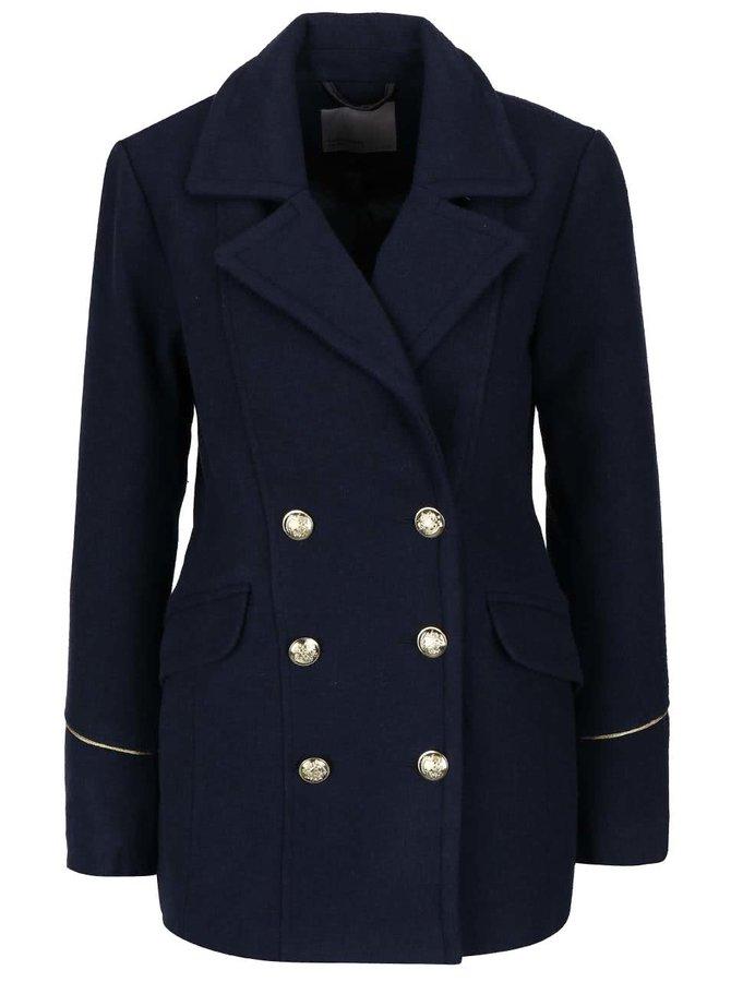 Tmavomodrý dvojradový kabát s detailmi v zlatej farbe Vero Moda Sweety