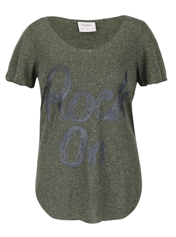 Khaki žíhané tričko s potiskem VERO MODA Lua