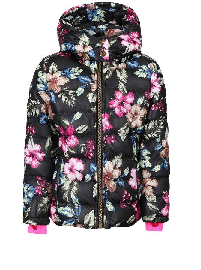 Čierna dievčenská kvetinová bunda s kapucňou Cars Jeans Pip