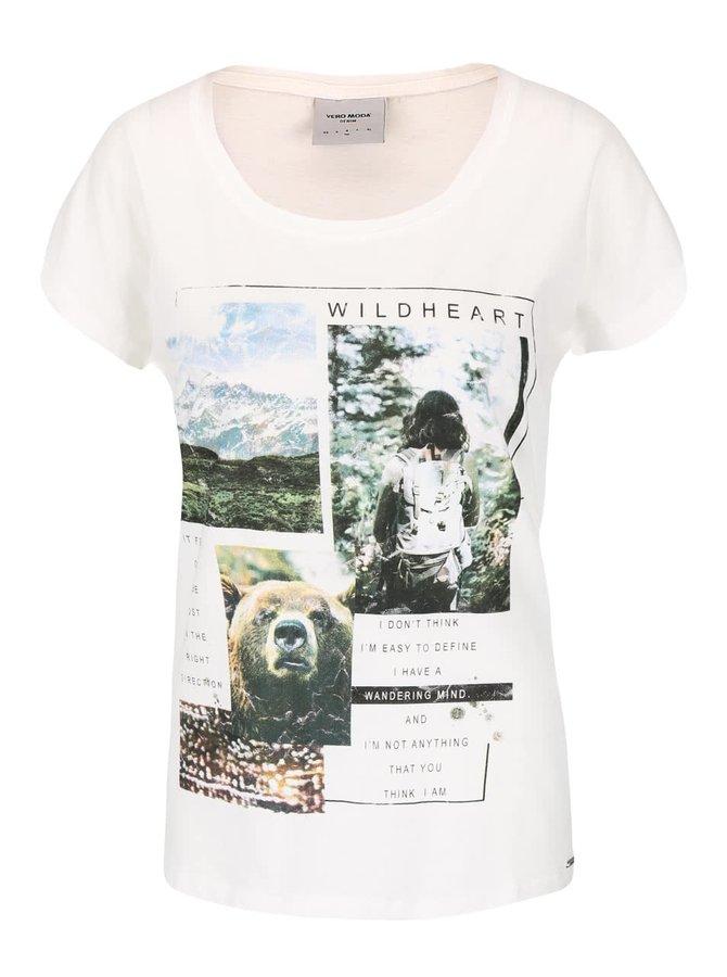 Krémové tričko s potlačou VERO MODA Bella