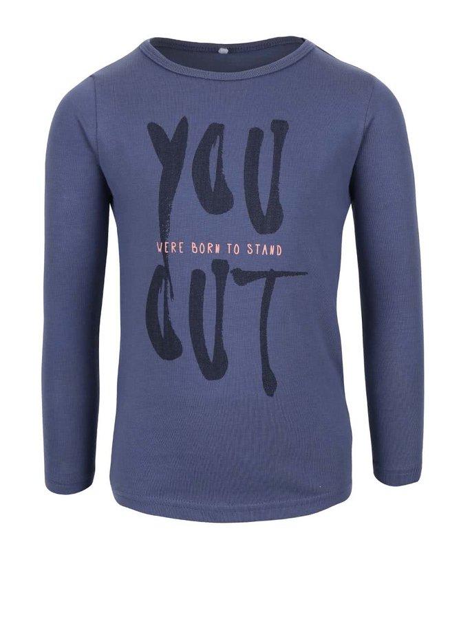 Bluză albastru închis Name it Veen din bumbac pentru fete