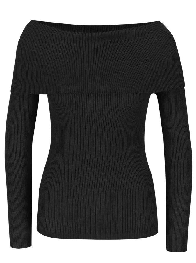 Čierny sveter s lodičkovým výstrihom Noisy May Magenta