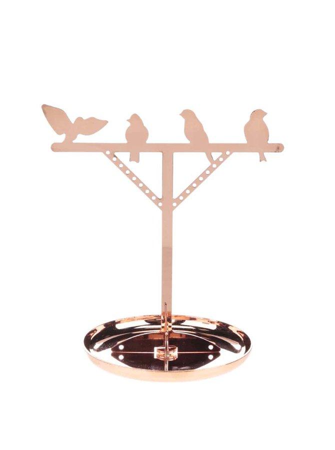 Stojan na šperky s vtáčikmi v bronzovej farbe Kikkerland Bird