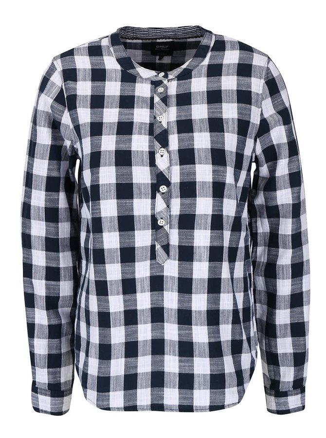 Tmavě modrá kostkovaná košile bez límečku ONLY Casey