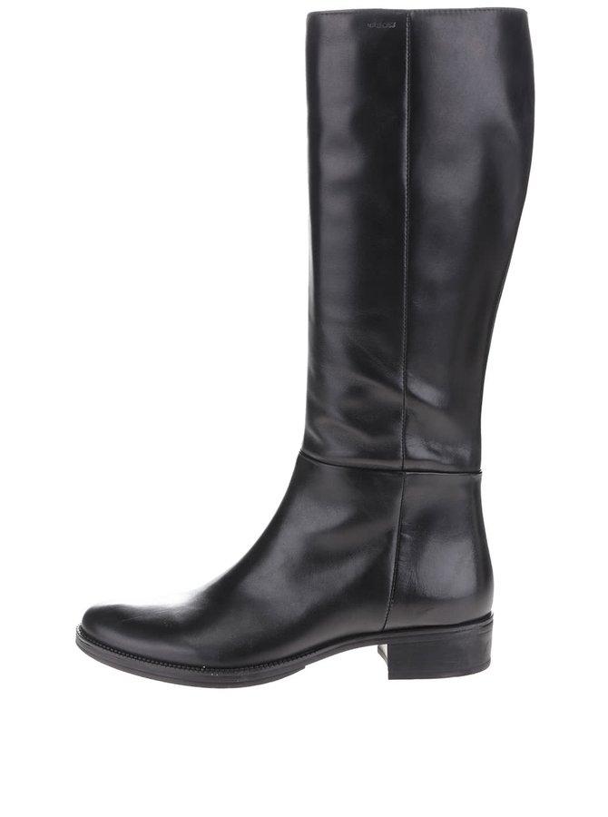 Čierne kožené čižmy s detailmi Geox Donna Mendit