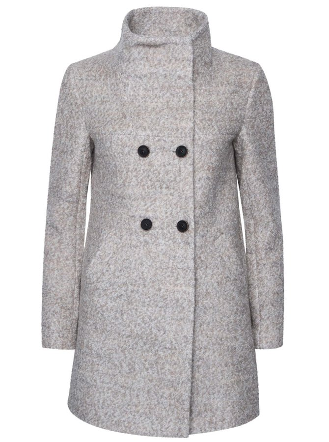 Béžový melírovaný dvojradý kabát s vysokým golierom ONLY New Sophia