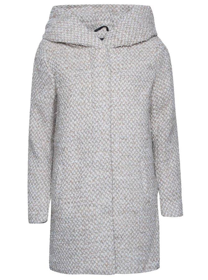 Krémový melírovaný kabát s kapucňou ONLY New Indie