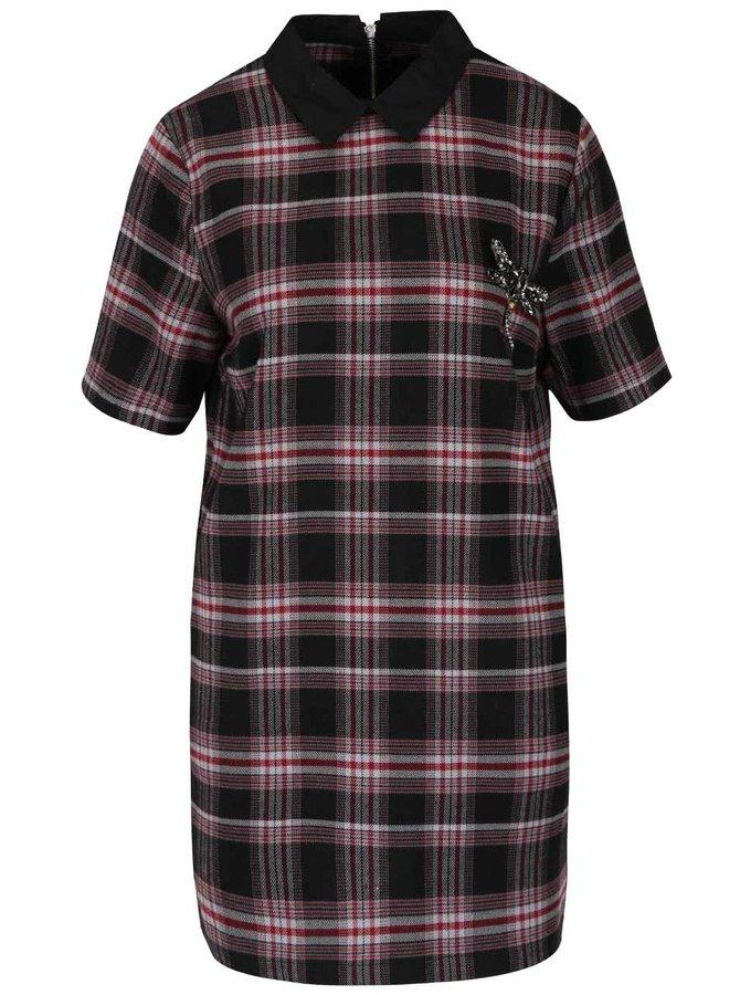 Vínovo-černé kostkované šaty s límečkem a broží ONLY Dandy