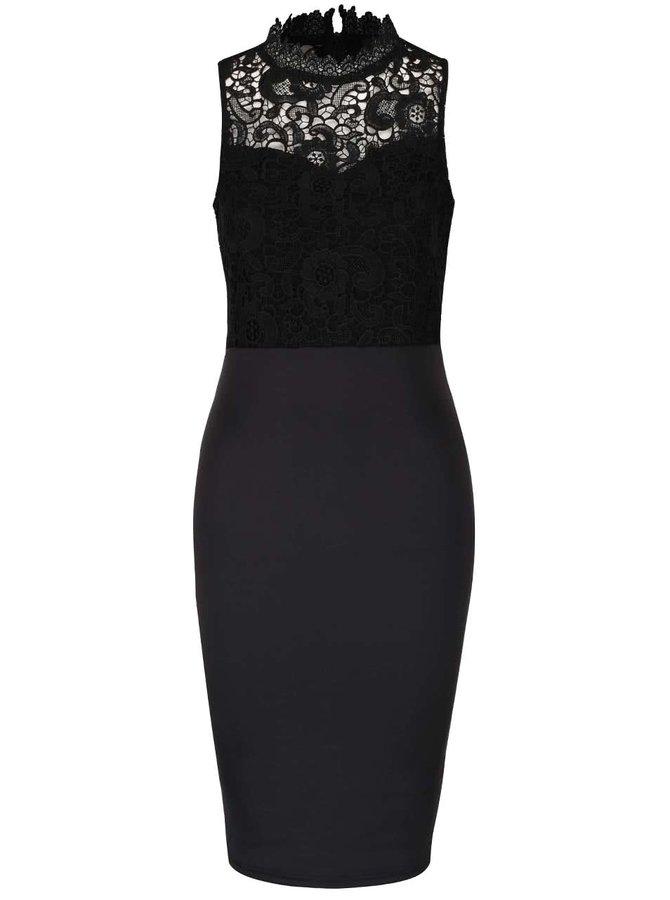 Čierne priliehavé šaty bez rukávov AX Paris