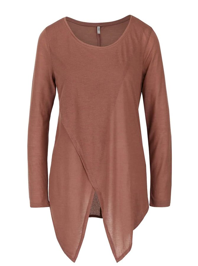 Bluză maro ONLY Palma asimetrică