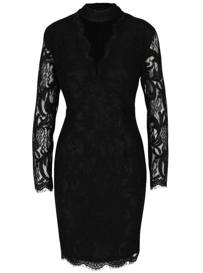 Čierne čipkované šaty s hlbokým výstrihom AX Paris