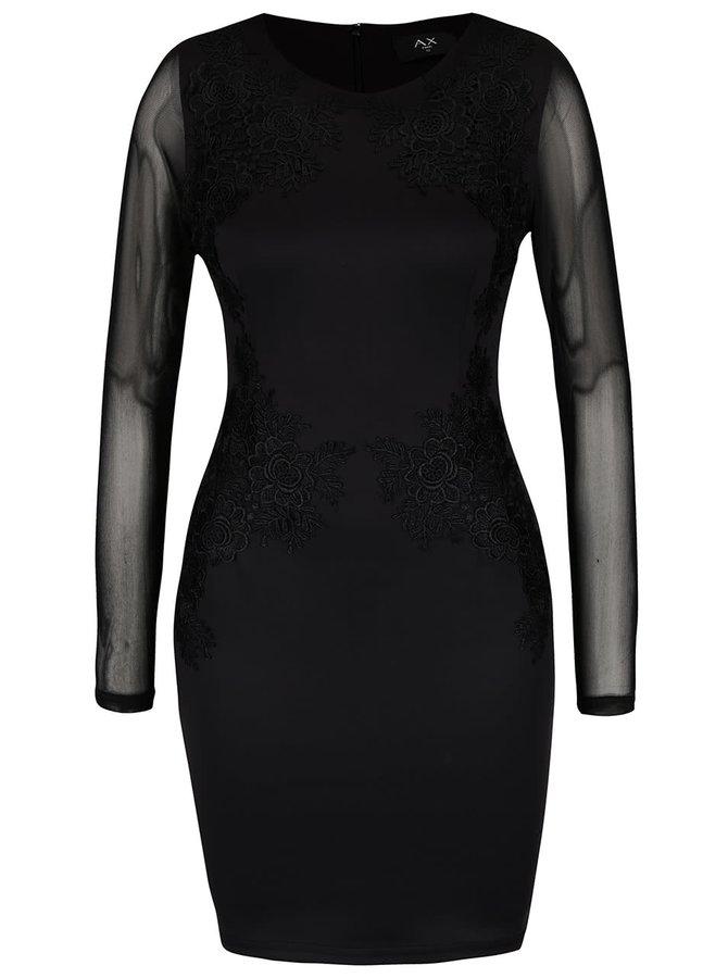 Černé přiléhavé šaty se síťovanými rukávy AX Paris