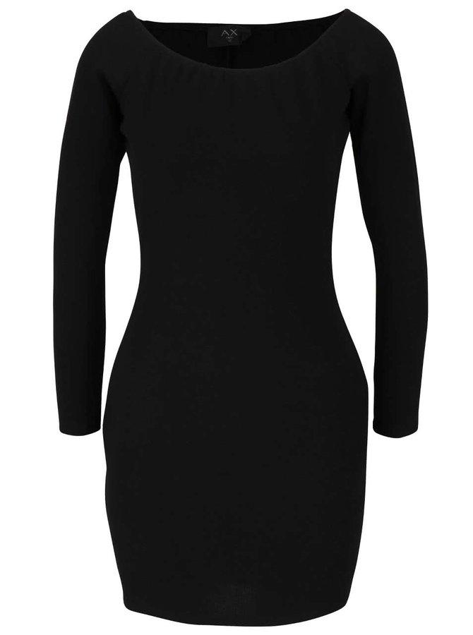 Černé šaty s dlouhým rukávem a odhalenými rameny AX Paris