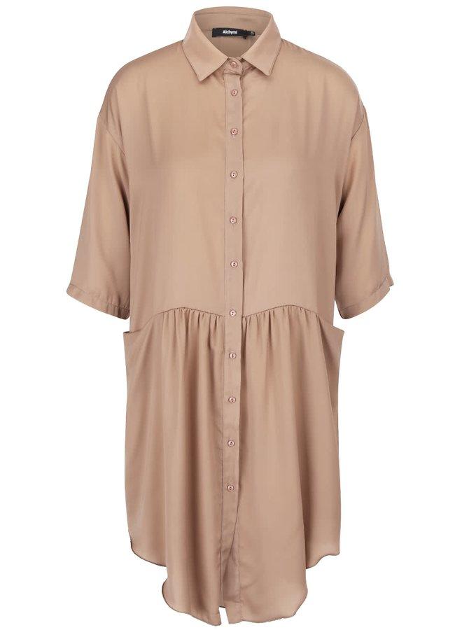Béžové saténové košeľové šaty s vreckami Alchymi Barbet