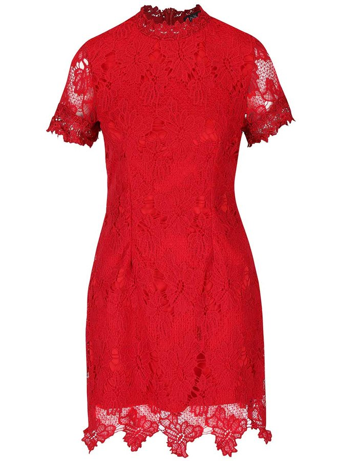 Červené čipkované šaty s krátkym rukávom AX Paris