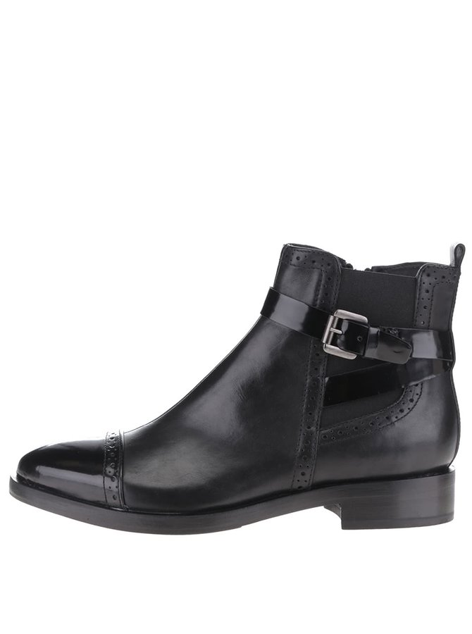 Čierne lesklé kožené členkové topánky Geox Donna Brogue