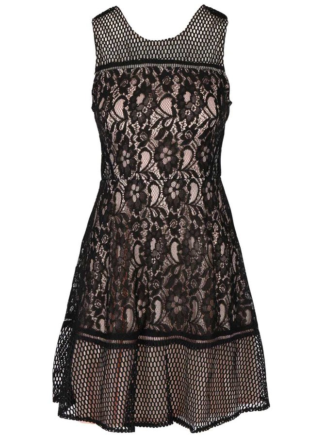 Rochie neagră cu bej AX Paris din dantelă și plasă