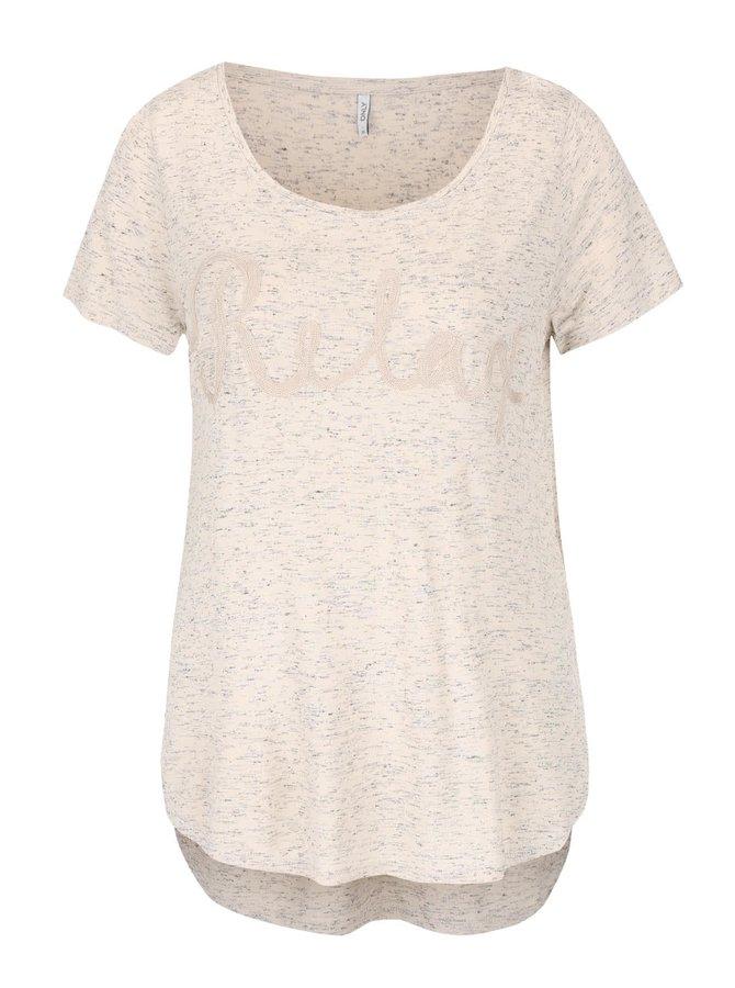 Krémové melírované tričko s nášivkou ONLY Helle