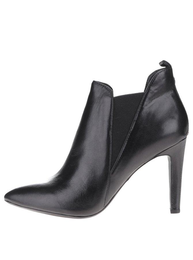 Čierne dámske kožené topánky na podpätku Geox Caroline