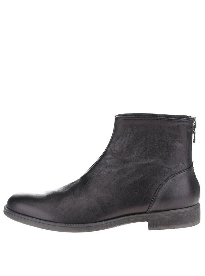 Čierne pánske kožené členkové topánky Geox Jaylon