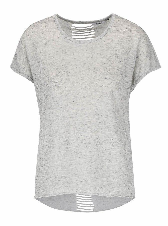 Sivé melírované tričko s prestrihmi na chrbte ONLY Kikki