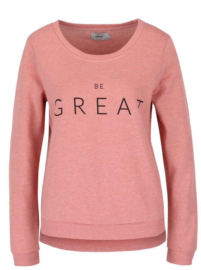 Bluză roz pal ONLY Sound cu text
