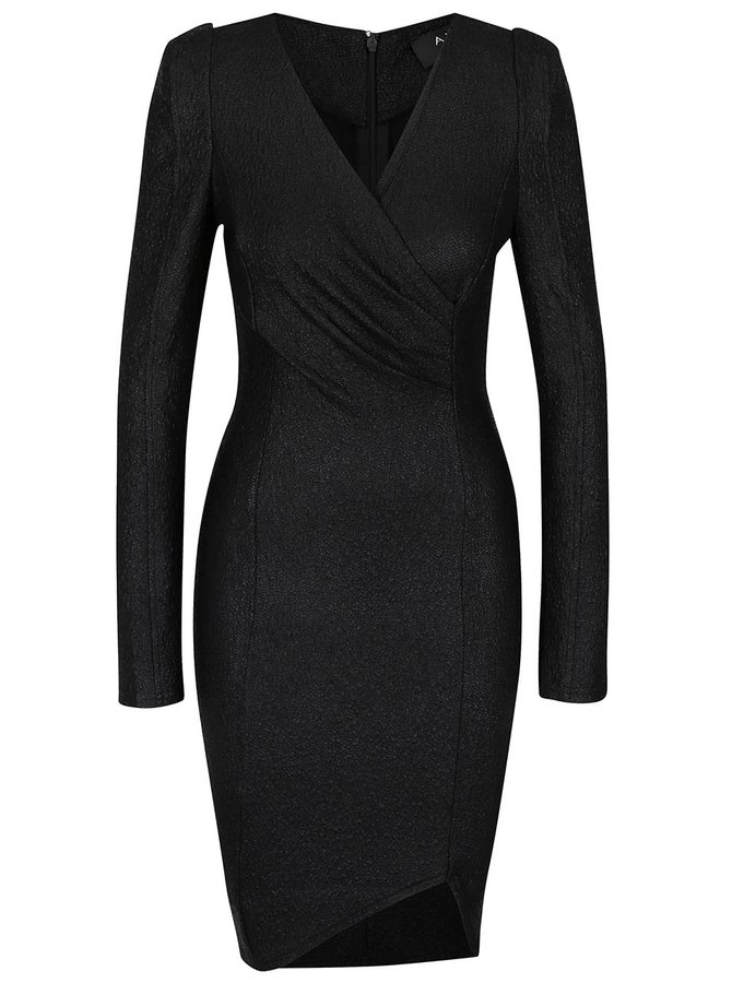 Čierne šaty s dlhým rukávom a štruktúrovaným povrchom AX Paris