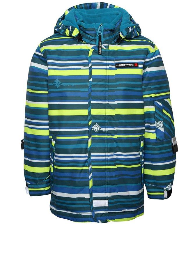 Modro-zelená chlapčenská pruhovaná zimná bunda LEGO Wear Jadon