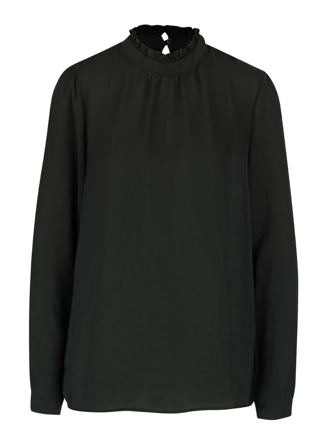Bluză verde închis ICHI Collir cu guler