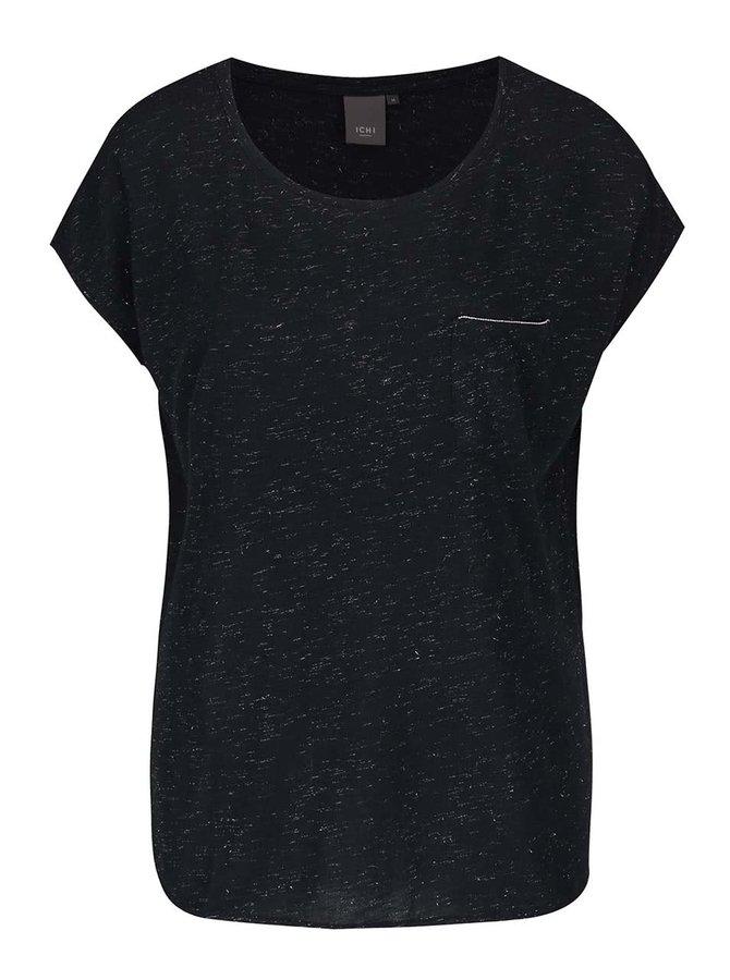 Tricou negru melanj ICHI Lenisa cu decolteu rotund