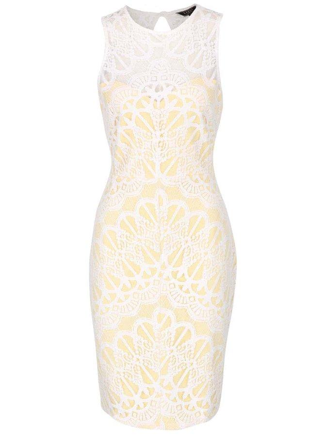 Žluto-bílé krajkované šaty Lipsy
