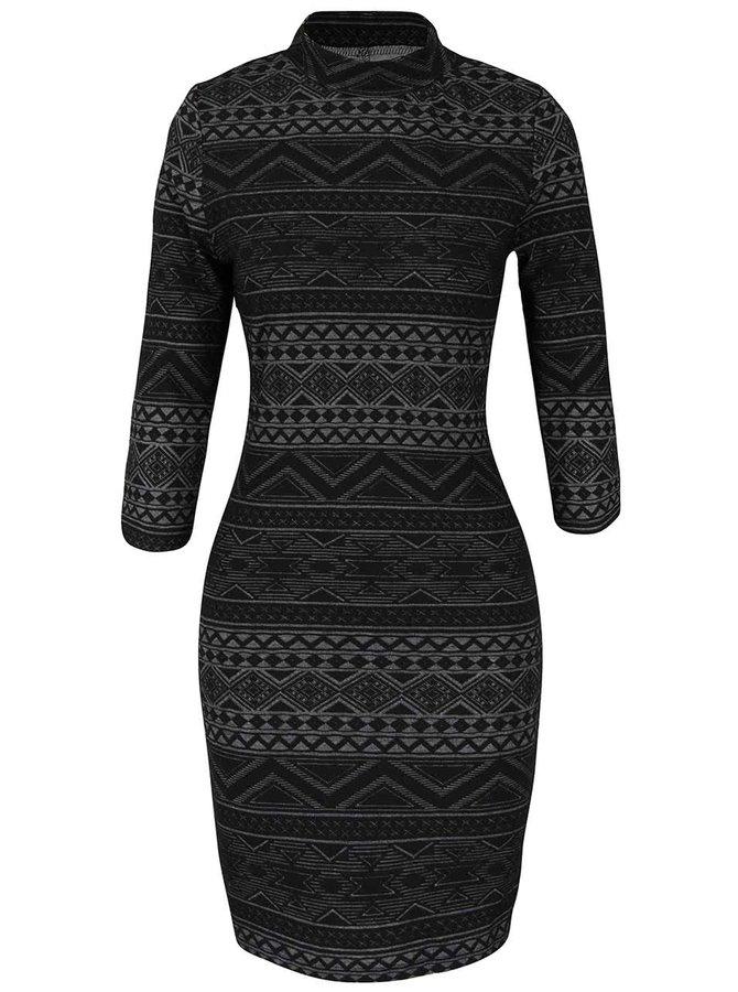 Sivo-čierne vzorované šaty so stojačikom Haily´s Patricia