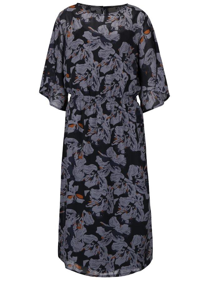 Šedočerné delší průsvitné šaty s květovaným vzorem ICHI Atari