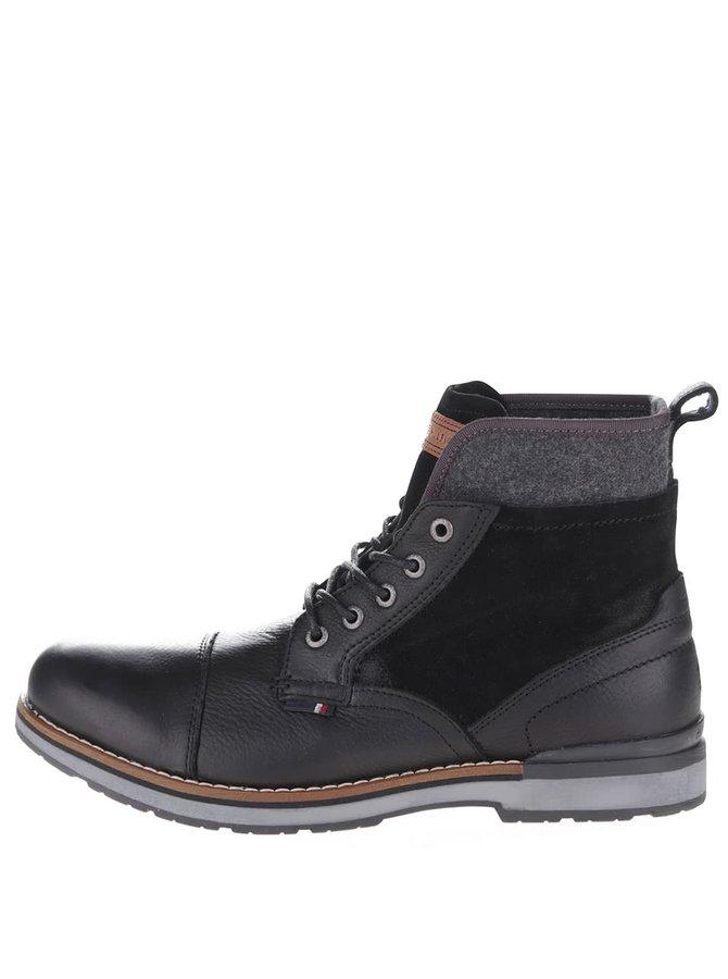 Čierne kožené pánske členkové topánky Tommy Hilfiger
