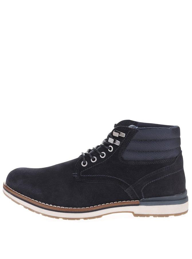 Tmavomodré pánske semišové členkové topánky Tommy Hilfiger