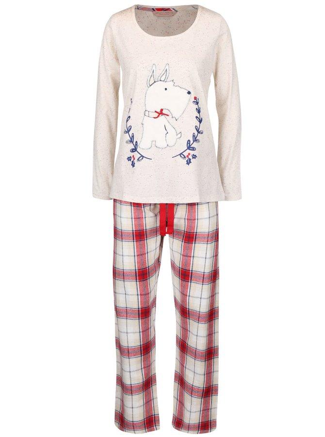 Červeno-krémové pyžamo s plyšovým psom Dorothy Perkins