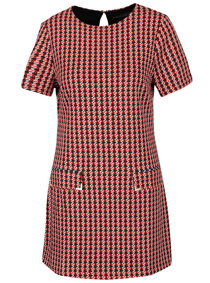 Čierno-červené šaty so vzorom kohútej stopy Dorothy Perkins