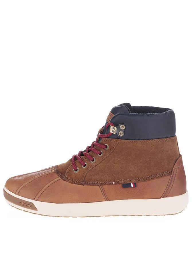 Svetlohnedé kožené pánske topánky s modrým lemom Tommy Hilfiger