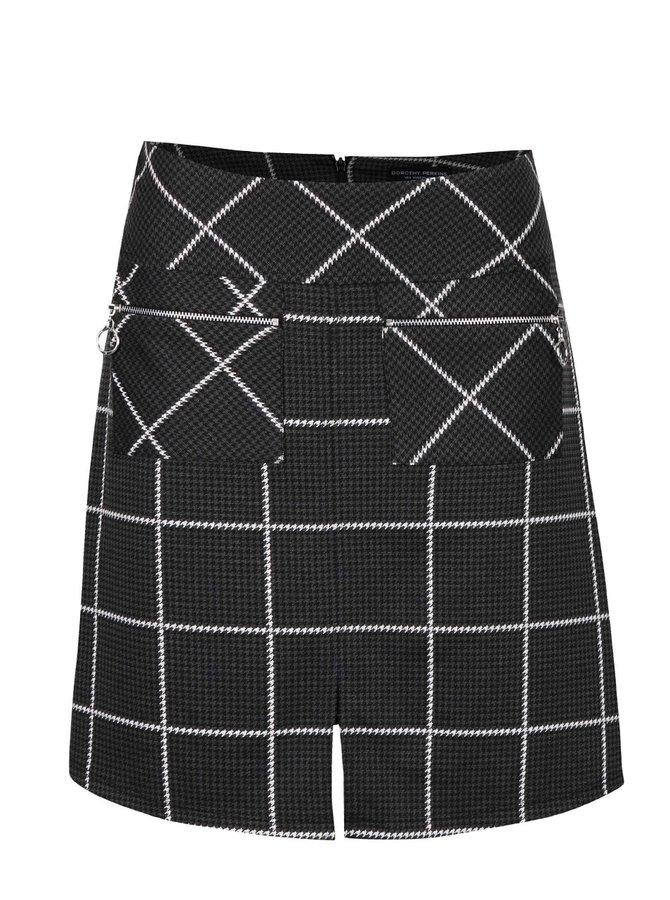 Tmavosivá kockovaná sukňa s vreckami Dorothy Perkins