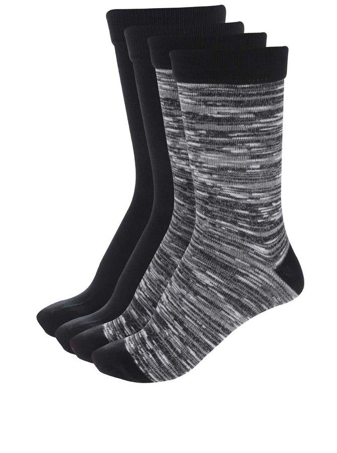 Sada čtyř černých černých a krémovo-černých ponožek Jack & Jones Black
