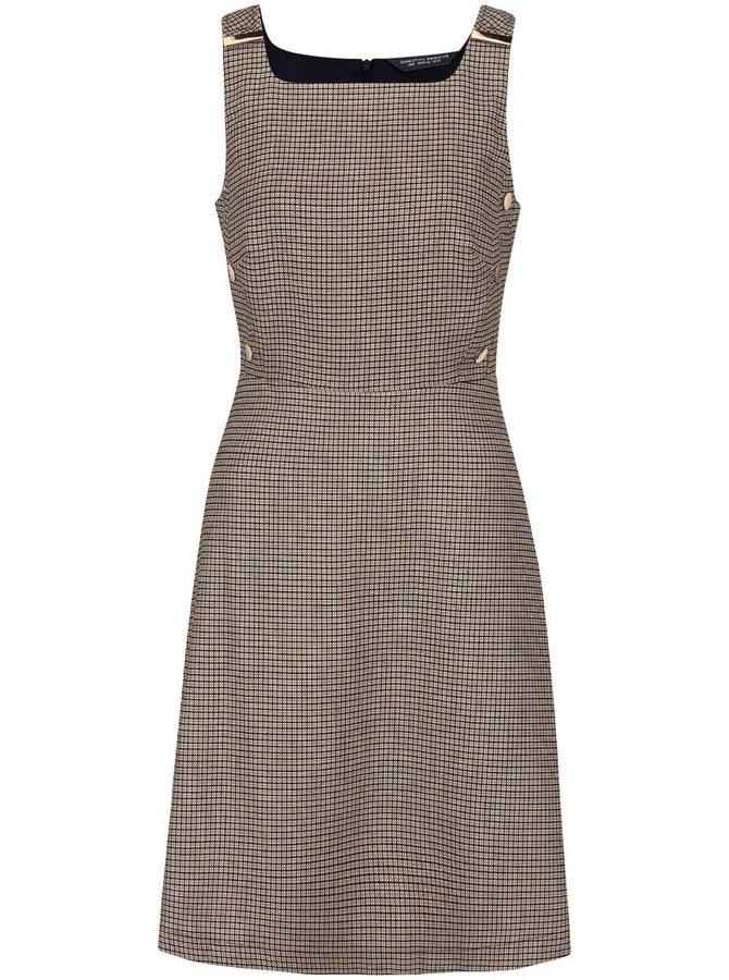 Krémovo-modré vzorované šaty s detaily ve zlaté barvě Dorothy Perkins