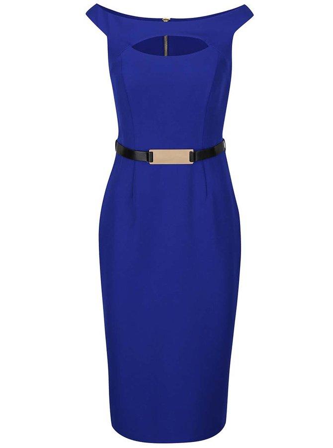 Modré šaty s páskem Dorothy Perkins