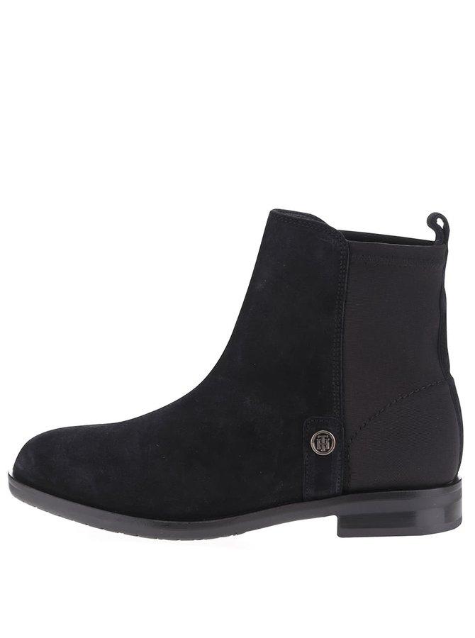 Čierne dámske semišové chelsea topánky Tommy Hilfiger